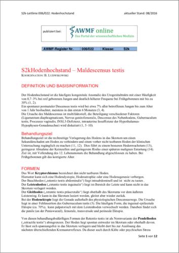 Leitlinie Hodenhochstand